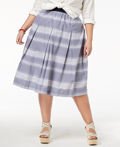 Tommy Hilfiger Plus Size Cotton Pleated Skirt, Created for Macy's