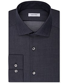 Men's Slim-Fit Non-Iron Performance Spread Collar Herringbone Dress Shirt