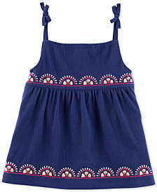Carter's Embroidered Tie-Shoulder Tank Top, Little & Big Girls