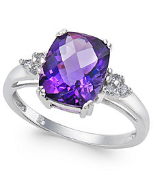Amethyst (2-7/8 ct. t.w.) & Diamond (1/10 ct. t.w.) Ring in 14k White Gold