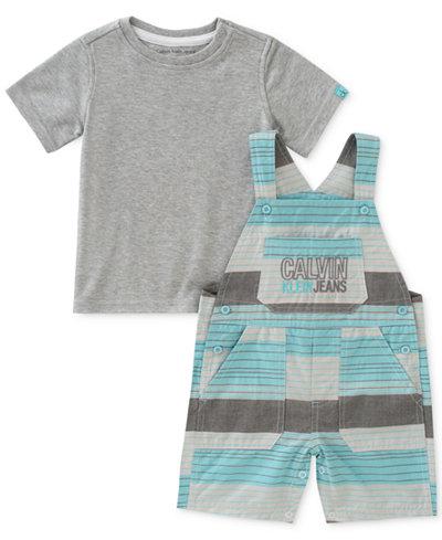 Calvin Klein 2-Pc. T-Shirt & Overall Set, Baby Boys