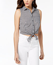 GUESS Gingham-Print Tie-Hem Top