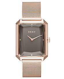DKNY Women's Cityspire Rose Gold-Tone Stainless Steel Mesh Bracelet Watch 27x34mm, Created for Macy's