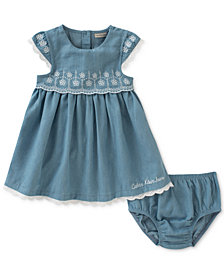 Calvin Klein Chambray & Eyelet Dress, Baby Girls