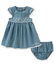 Calvin Klein Chambray & Eyelet Dress, Baby Girls