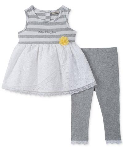 Calvin Klein 2-Pc. Striped Tunic & Leggings Set, Baby Girls