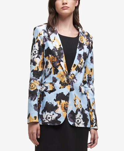 DKNY Printed One-Button Blazer, Created for Macy's