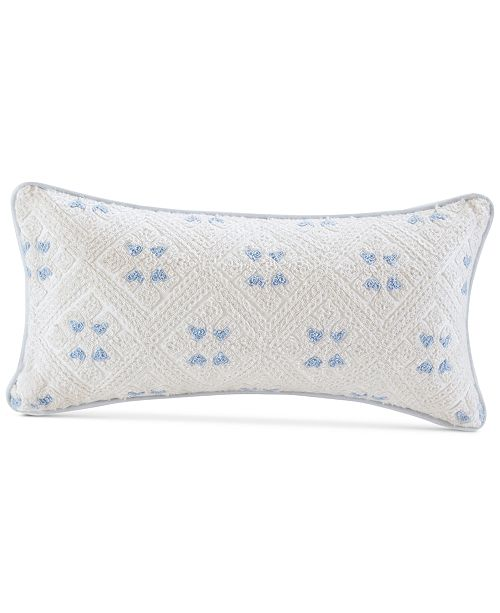 Echo Ravi 40 X 40 Embroidered Cotton Oblong Decorative Pillow Gorgeous White Oblong Decorative Pillow