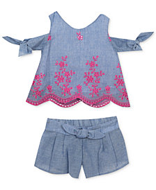 Rare Editions 2-Pc. Cold-Shoulder Top & Shorts Set, Baby Girls