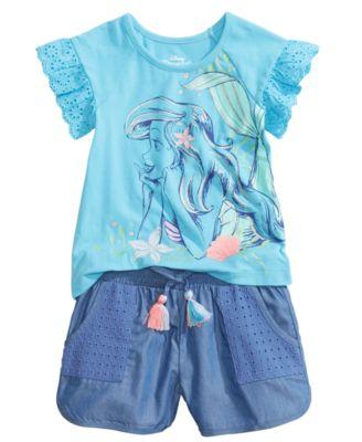 2-Pc. Ariel T-Shirt & Shorts Set, Little Girls