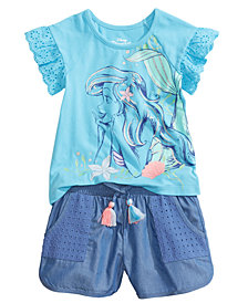 Disney 2-Pc. Ariel T-Shirt & Shorts Set, Little Girls