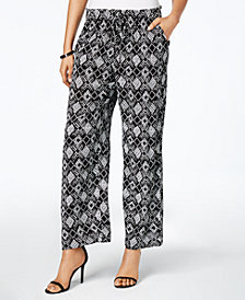 Kasper Printed Wide-Leg Pants