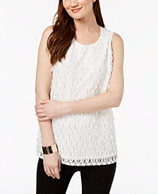 Alfani Petite Embroidered-Front Top, Created for Macy's