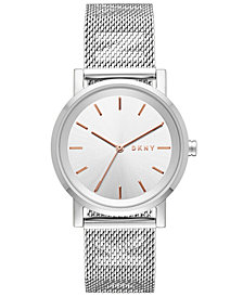 DKNY Women's SoHo Stainless Steel Mesh Bracelet Watch 34mm, Created for Macy's