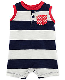 Carter's Striped Pocket Cotton Romper, Baby Boys
