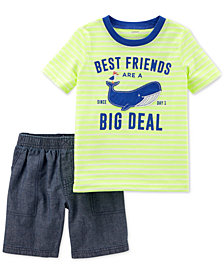 Carter's 2-Pc. Graphic-Print T-Shirt & Shorts Set, Baby Boys