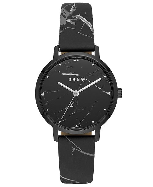 DKNY Women's Modernist Black & White Leather Strap Watch 36mm, Created for Macy's