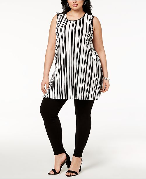 94a55e4e6c66d2 ... Alfani Plus Size Striped Split-Hem Tunic