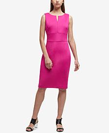 DKNY Split-Neck Scuba Sheath Dress, Created for Macy's