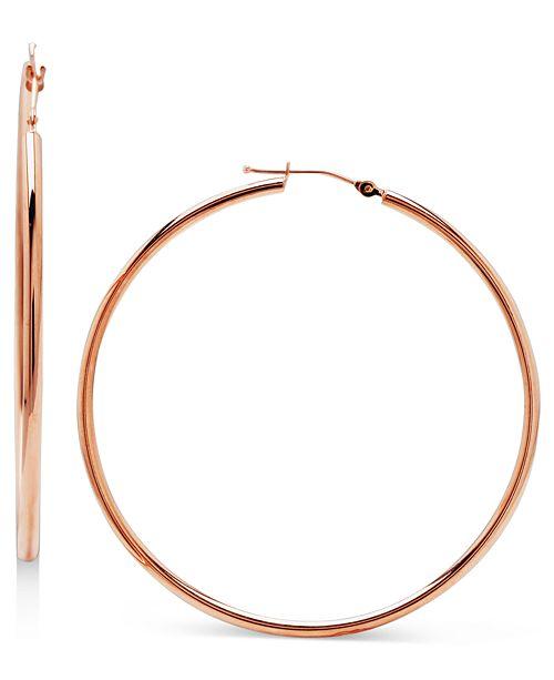 14k Rose Gold Earrings Large Hoop 5 Reviews Main Image