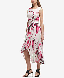 DKNY Pleated Chiffon High-Low Dress, Created for Macy's