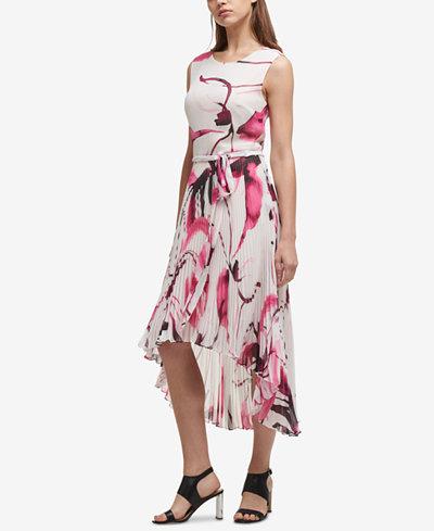 DKNY Pleated Chiffon High-Low Dress, Created for Macy's