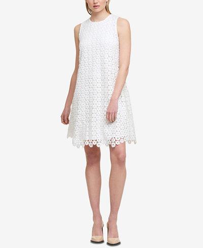 DKNY Geometric Lace Shift Dress, Created for Macy's