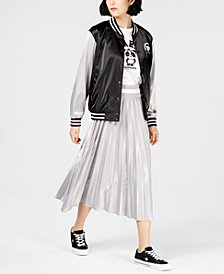 NICOPANDA Satin Graphic Varsity Jacket, Created for Macy's