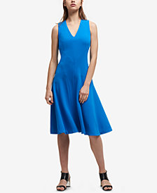 DKNY V-Neck Stitched Fit & Flare Dress, Created for Macy's