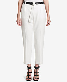 Calvin Klein Belted Straight-Leg Pants