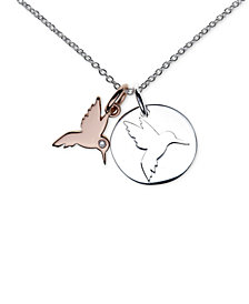 "Unwritten Two-Tone Hummingbird Pendant Necklace in Sterling Silver and Rose Gold-Flash 16""+2"" extender"