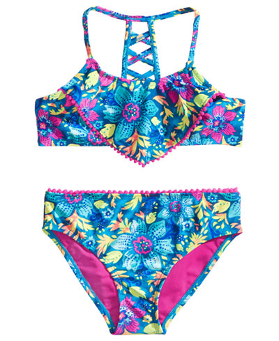 Breaking Waves 2-Pc. Floral-Print Bikini, Little Girls & Big Girls