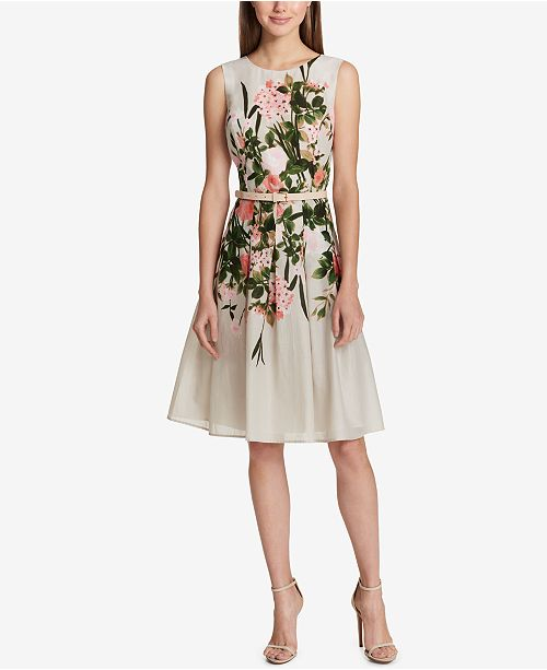 Tommy Hilfiger Floral-Print Belted Fit   Flare Dress   Reviews ... 58dc0d2eb