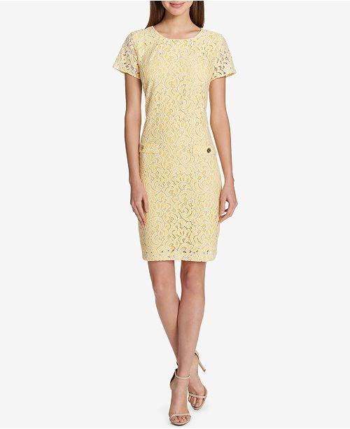 fb69c2f975380 Tommy Hilfiger Lace Shift Dress   Reviews - Dresses - Women - Macy s