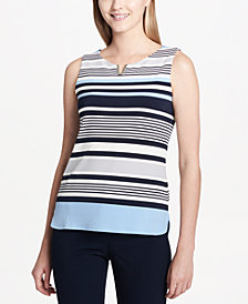 Calvin Klein Striped Notched-Neck Top