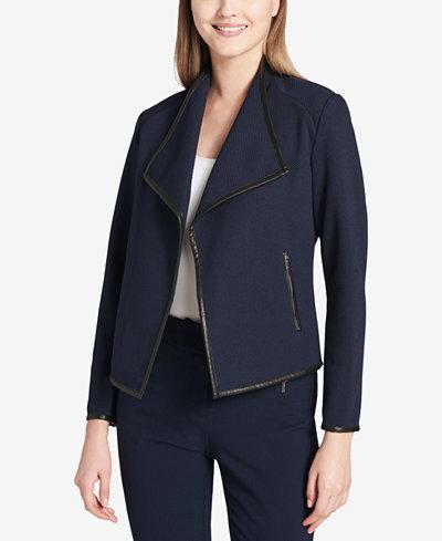 Calvin Klein Faux-Leather-Trim Blazer
