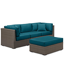 South Harbor Outdoor 4-Pc. Modular Seating Set (2 Corner Units, 1 Armless Unit & 1 Ottoman), with Custom Sunbrella® Colors, Created for Macy's
