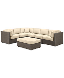 South Harbor Outdoor 7-Pc. Modular Seating Set (3 Corner Units, 3 Armless Units & 1 Ottoman), with Custom Sunbrella® Colors, Created for Macy's