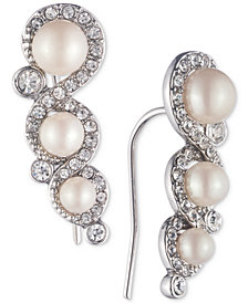 Carolee Silver-Tone Crystal & Imitation Pearl Ear Climber Earrings