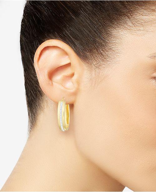 f8d80d57b79d9 Diamond Accent Swarovski Crystal Hoop Earrings in 14k Gold over Resin