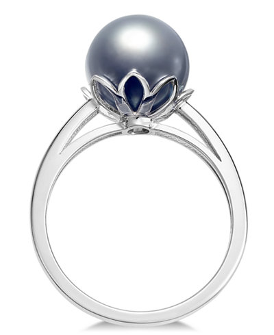 Cultured Tahitian Black Pearl (10mm) Ring in 14k White Gold
