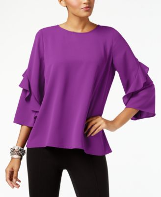Ruffled-Sleeve Zip-Back Top, Created for Macy's