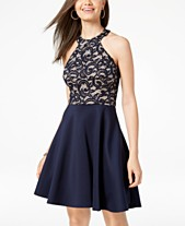B Darlin Juniors Strappy Lace Halter Fit Flare Dress