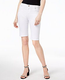 I.N.C. Curvy-Fit Rhinestone-Rivet Bermuda Shorts, Created for Macy's