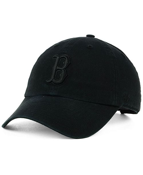 47 brand boston red sox black on black clean up cap
