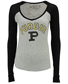Retro Brand Women's Purdue Boilermakers V-Neck Raglan Long Sleeve T-Shirt