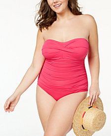Lauren Ralph Lauren Plus Size Beach Club Underwire Bandeau Tummy-Control One-Piece Swimsuit