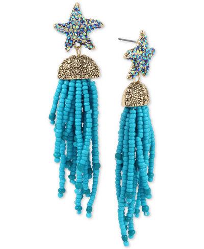 Betsey Johnson Gold-Tone Pavé Starfish Beaded Fringe Drop Earrings