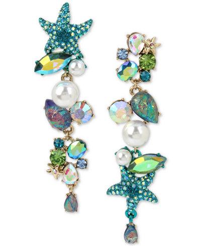 Betsey Johnson Gold-Tone Crystal, Pavé & Imitation Pearl Sea-Themed Mismatch Earrings
