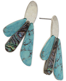Robert Lee Morris Soho Silver-Tone Multi-Stone Drop Earrings
